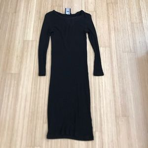 Ribbed long midi black dress ASOS size 6